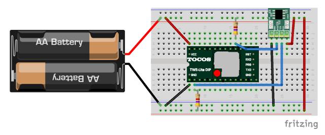 TWE-Lite-DIPとADT7410の配線図